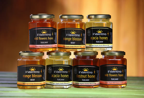 Jars of different types of honey