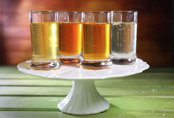 Glasses of Honey on Cake Stand