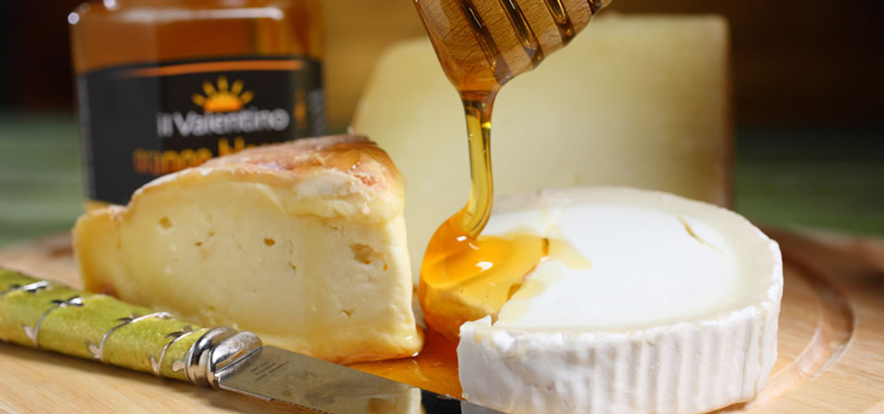 Honey on cheese. What a delight